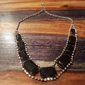 BLACK CRYSTAL RHINESTONE COSTUME JEWELRY NECKLACE